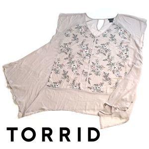 Torrid Floral Front Short Sleeve Chiffon Top